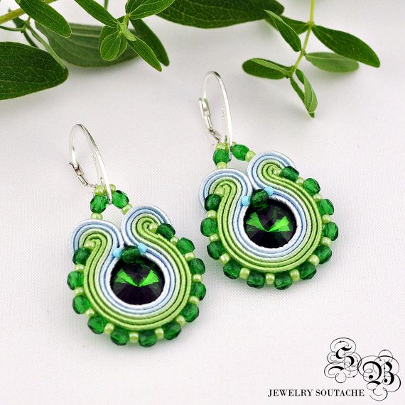 Mini Earrings Soutache, green/light green/light blue, Soutache earrings, small earrings