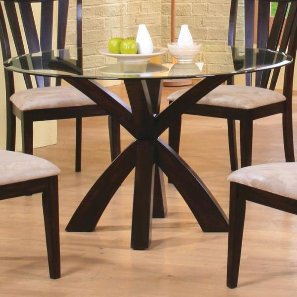 Shoemaker Crossing Pedestal Table Base With Round Beveled Glass Top By  Coaster   Breakfast Nook