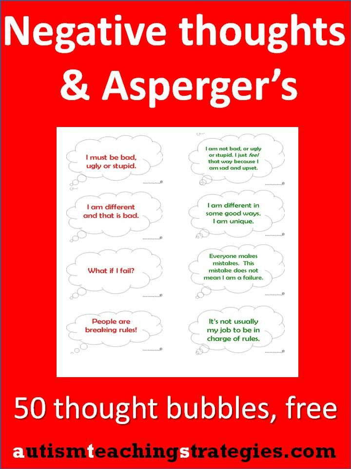 Children with Asperger's and other autism spectrum disorders can get quite a lot of upsetting thoughts. Here are 50 pre-written thought bubbles that are easy to download, print and use (teachers, SLP's, anyone, not just therapists).  Make a quick CBT, hands-on matching game or add a visual dimension to your work.