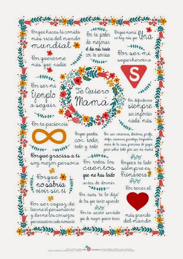 María me ha dado la idea de que publique imprimibles para el día de la madre.  Aunque me tocaba publicar mañana os los adelanto hoy   Morale...