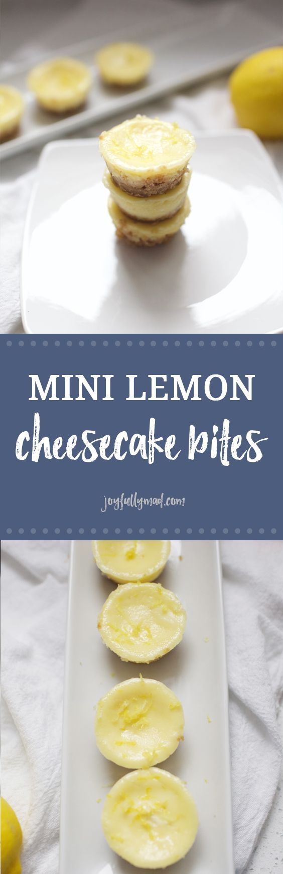 Mini Lemon Cheesecake Bites are theperfect dessert for a party or gathering! These sweet little bites will not last long at your next gathering. The lemon flavor is light and summery, but perfect for any time of year!