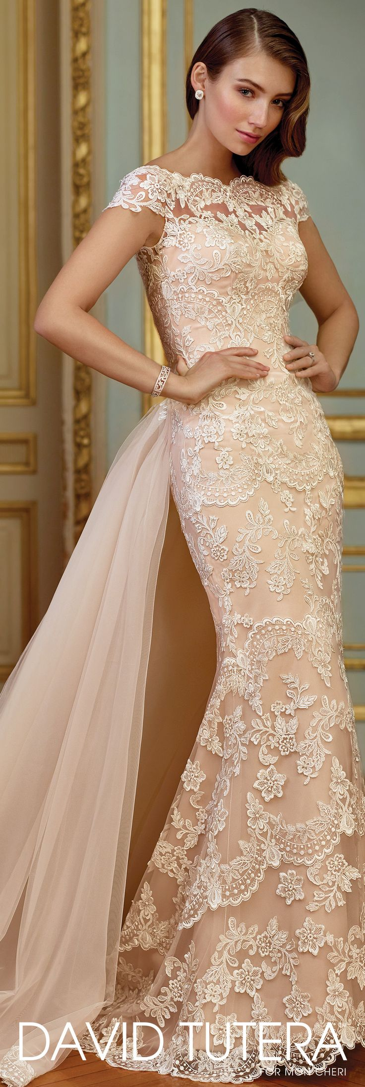 David Tutera for Mon Cheri Spring 2017 Collection - Style No. 117291 Zerrin - lace fit and flare wedding dress with cap sleeves and illusion scalloped lace bateau neckline