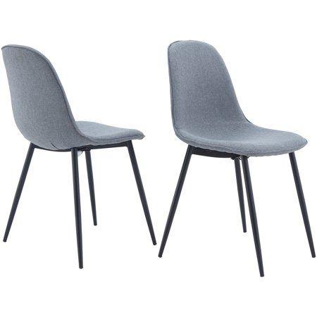 Remarkable Mainstays Bucket Seat Metal Leg Dining Chair Set Of 2 Gray Machost Co Dining Chair Design Ideas Machostcouk