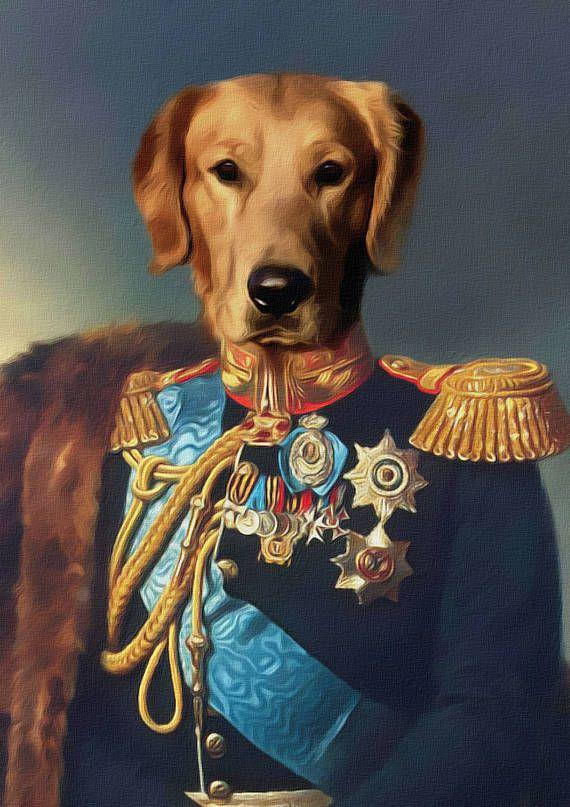 Pet портрет на заказ, Королевский костюм домашнее животное портрет, портрет собаки, изготовленный на заказ Vintage Regal Pet портрет, изготовленный на заказ портрет, печать, Смешные