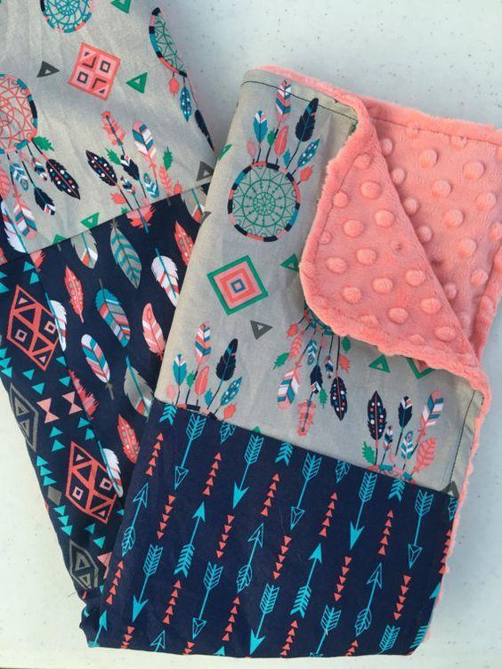 Tribal Girls Baby Blanket Minky Blanket by FromAshestoRoses
