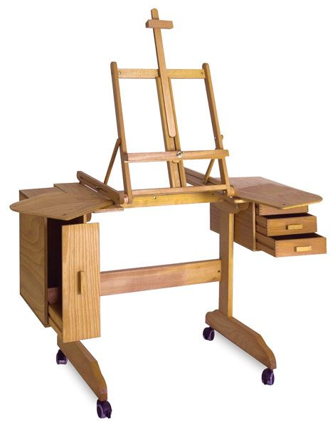 Artist's easel desk with storage on casters. My husband could make this! Maybe make the easel removable?