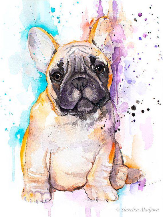 Baby Fawn French Bulldog Watercolor Painting Print By Slaveika