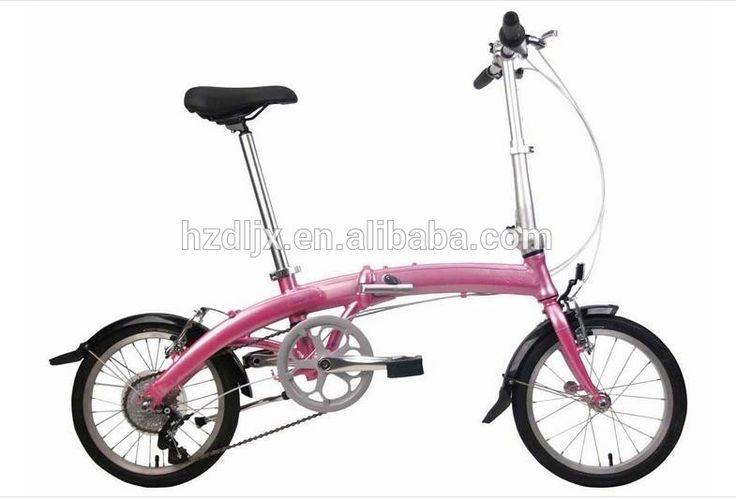16 inch Hi-ten Steel Frame 6 Speed Folding Bike for girl