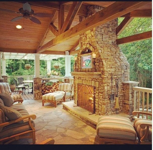 What an amazing display of essentials...plus some extra: ample seating, ceiling fans, hanging baskets a place to put up your feet...and oh yeah, a fireplace?  We'll take it for those chilly Atlanta fall nights. Well done.