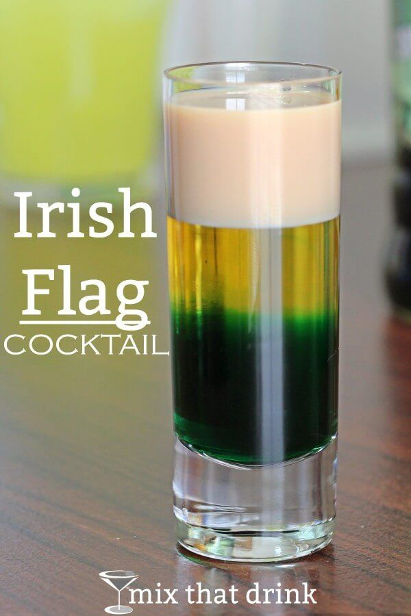 The Irish Flag drink is a layered cocktail with Irish Cream, green creme de menthe and Licor 43 -  the colors of the Irish flag. The flavor is a surprisingly tasty blend of vanilla, caramel and mint.