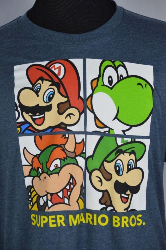 Super Mario Bros Brothers Luigi Mario Yoshi Bowser Blue Mens XL Crewneck T-Shirt #SuperMario #GraphicTee
