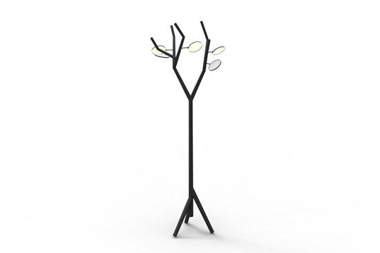 The Tree Oled uses common LEDs and OLEDs. OLEDs are very thin organic surfaces that can emit light. The OLEDs act as leaves and can be rotated and lit for a nice atmosphere light. At the end of each branch an LED is located. Every last branch is mounted with a ball joint. The LEDs can be pointed at various surfaces and used for different goals.