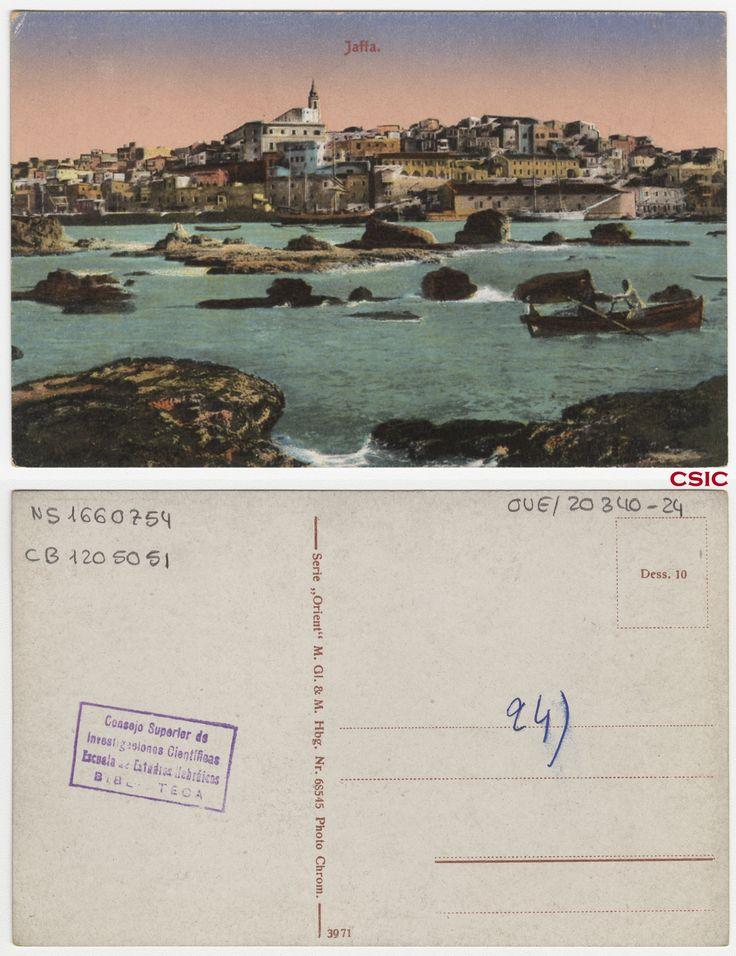 Jaffa. Editor: Hamburg : M. GL & M.  Fecha: ca.1903. Serie/Tit. relacionados: Orient 68545; Vistas de Palestina . http://bvirtual.bibliotecas.csic.es/csic:csicalephbib001660754