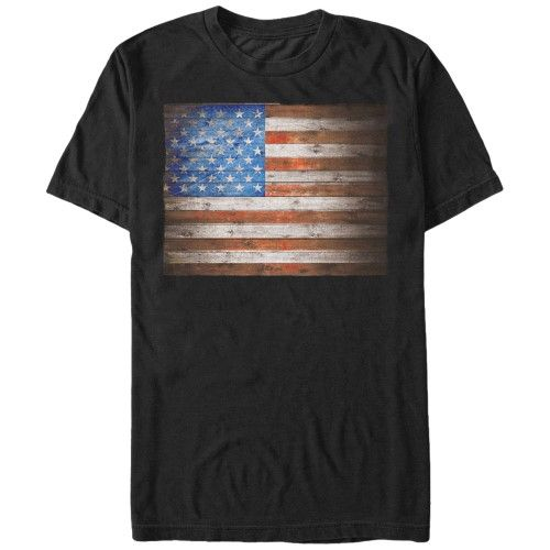 Lost Gods Fourth of July Wooden American Flag Mens Graphic T Shirt, Men's, Size: Large, Black