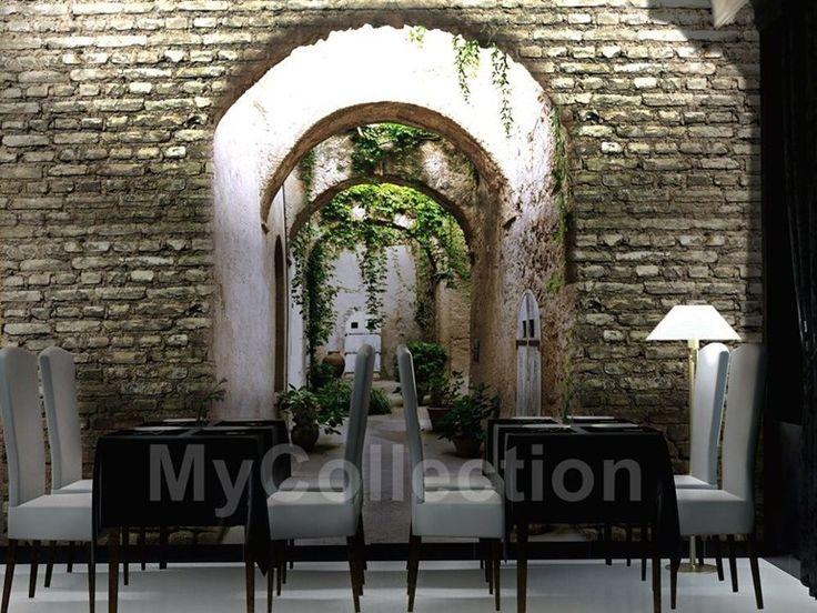 Carta da parati effetto mattoni panoramica GARDEN DOOR Collezione Habitat by MyCollection.it