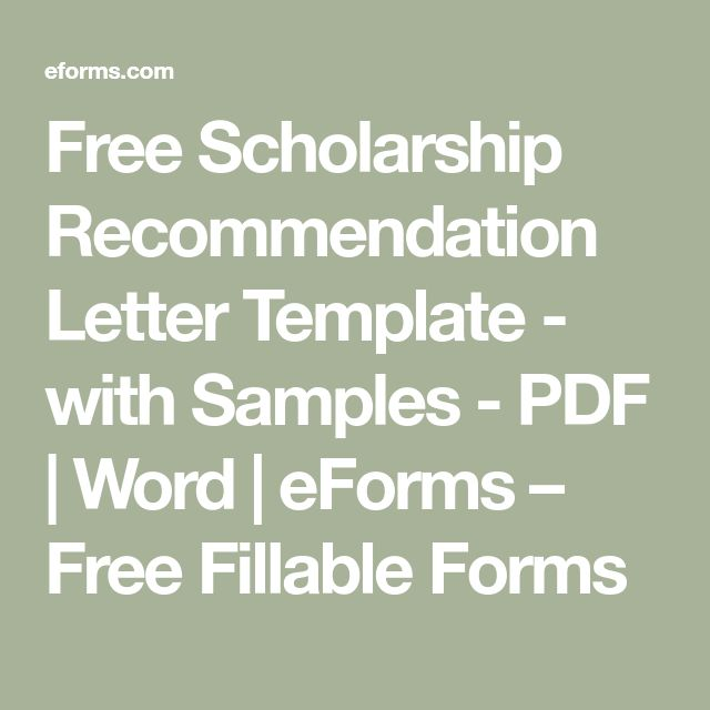 Free Scholarship Recommendation Letter Template - with Samples - PDF | Word | eForms – Free Fillable Forms