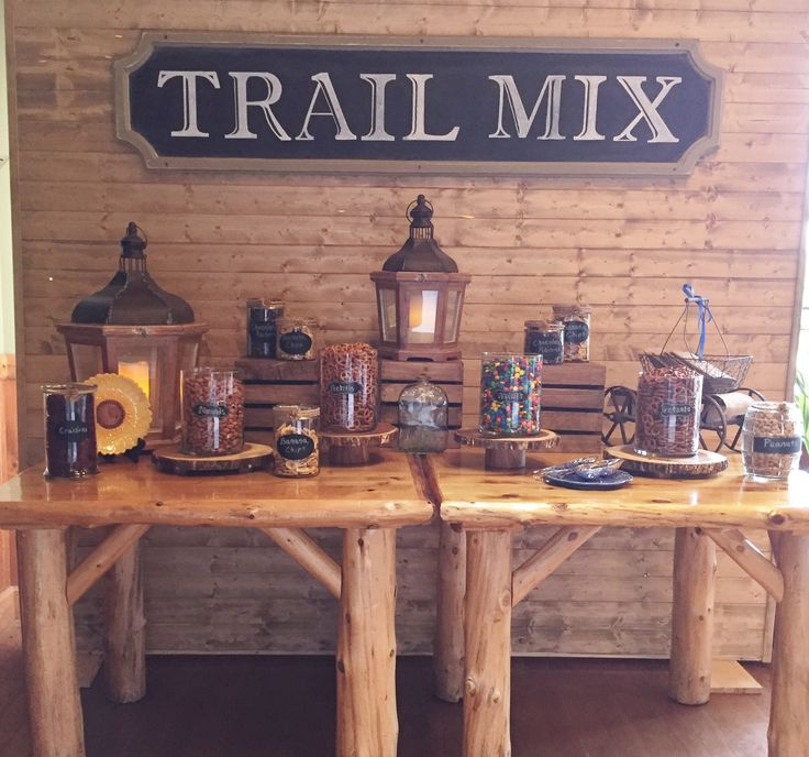 Rustic build-your-own trail mix bar custom designed by Knot Just for Weddings. Wedding dessert bar, barn wedding, wedding favors