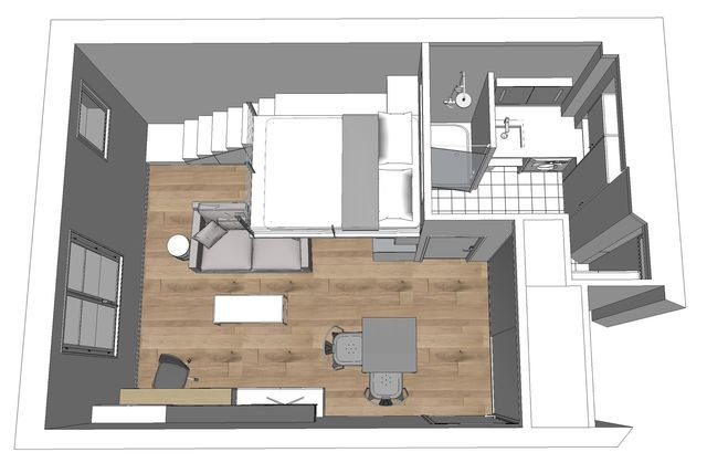 Idee amenagement studio 25m2 photos de conception de maison for Plan amenagement studio 25m2