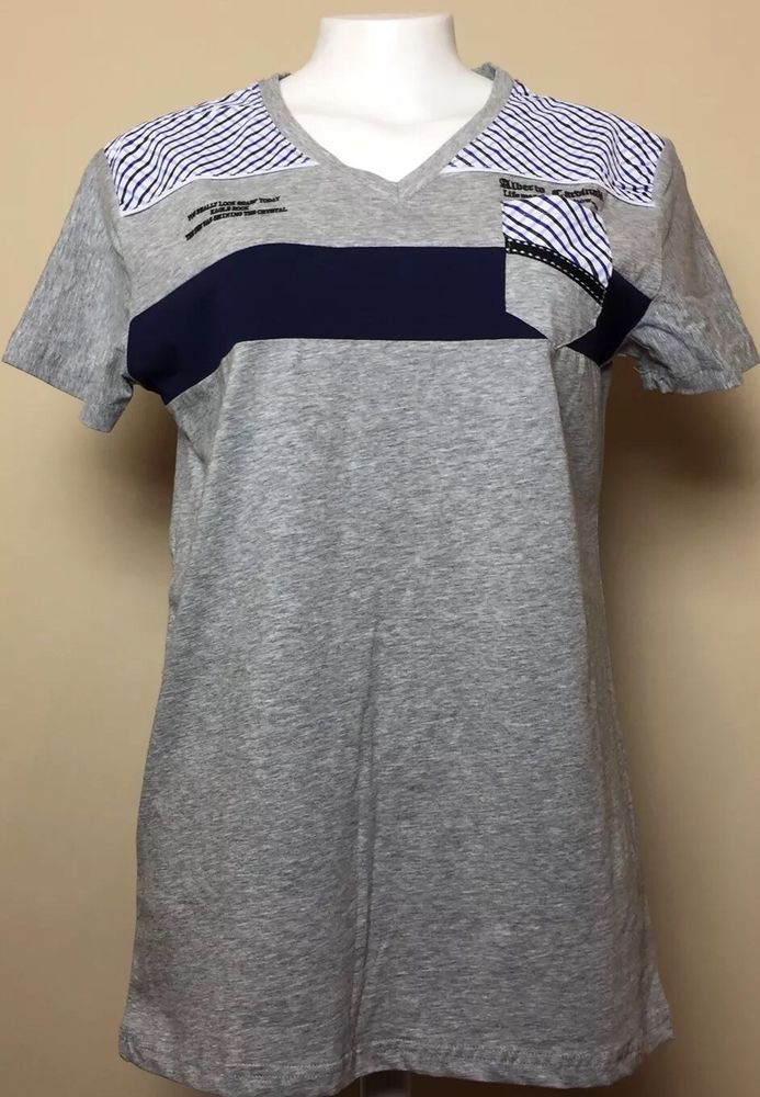 Alberto Cardinali Cotton V Neck Short Sleeve  Gray Men's S  T-shirt  | eBay