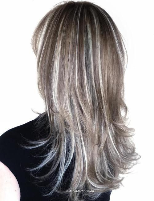 Brown Hair With Silver Highlights