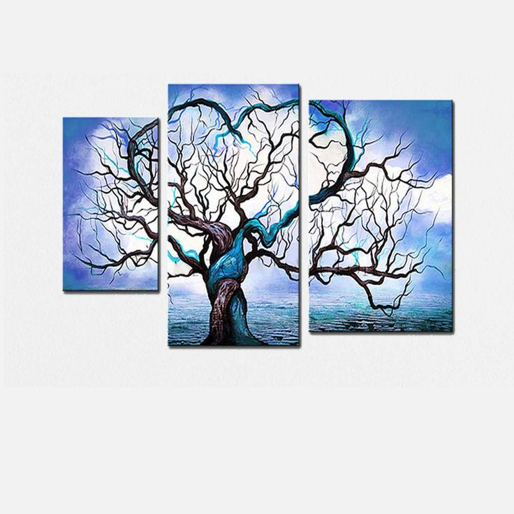 Blue tree love landscape canvas wall art oil painting for Wall artwork paintings