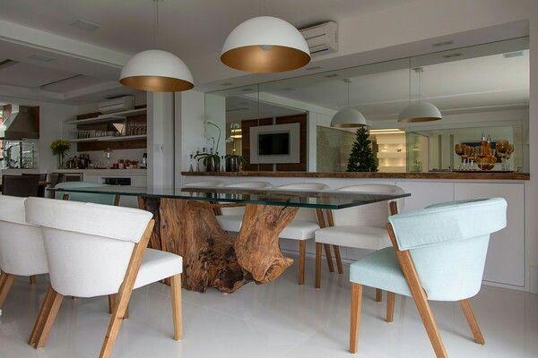 Mesa de jantar com p de tronco de rvore mesa de jantar for Mesa de tronco