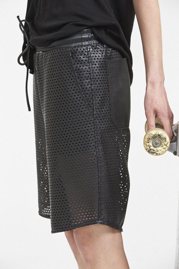 'Hideseekers' Perforated Leather 'Bowlskate Boardies' www.hideseekers.com