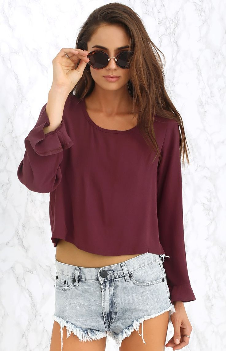 Merlot Long Sleeve Crop #BBFEST #beginningboutique