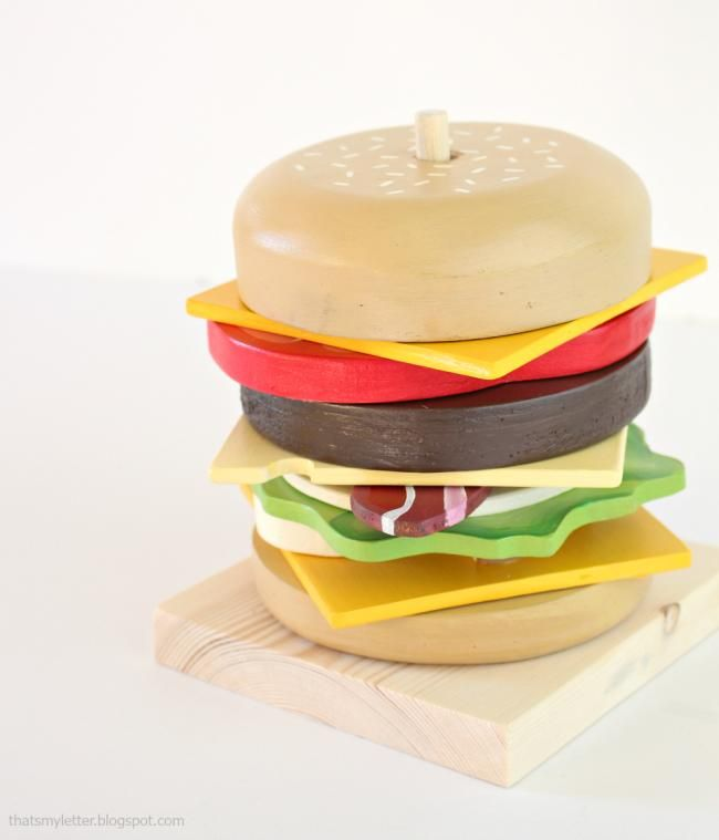 Ana White | Stacking Rings Hamburger Toy - DIY Projects