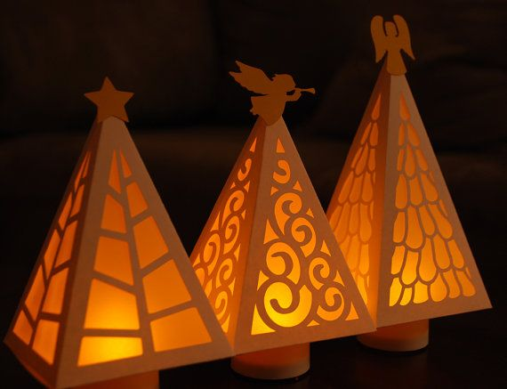 Christmas Tree Luminary Digital Cutting Files Svg Pdf