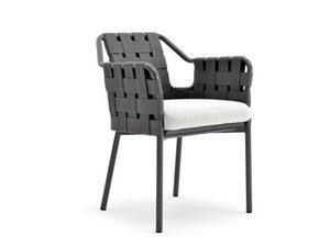 Obi chair with arms, Chair in aluminum and synthetic fiber, for outdoors