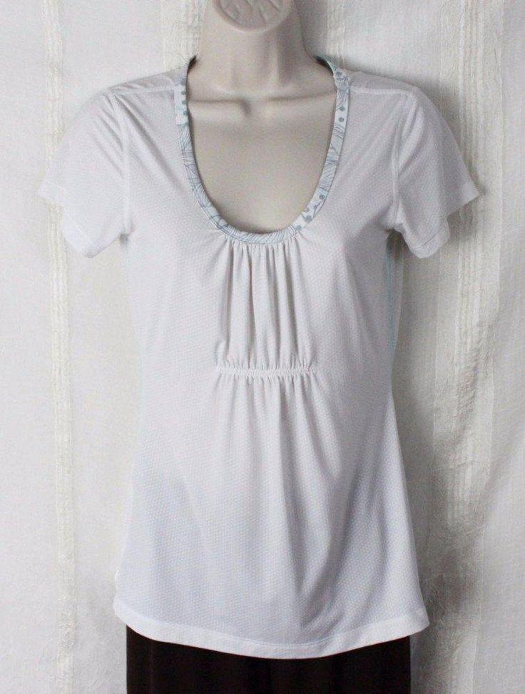 Lululemon Running Top S 6 size White Inspiration Text Runner On Back Stretch #Lululemon #ShirtsTops