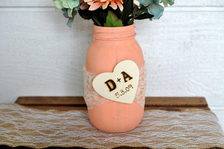 wedding centerpiece, rustic wedding mason jar, burlap flower and lace mason jar…