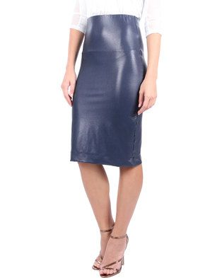Opt for understated glamour in the Pencil Skirt by Michelle Ludek. This sleek design boasts an elasticated high waistband and fits just below the knee. Navy in colour, the skirt features a metallic high shine and maintains a snug fit. Perfect for a night out with the girls, team this sexy skirt with your favourite heels and a sparkly top and get ready to dance the night away!