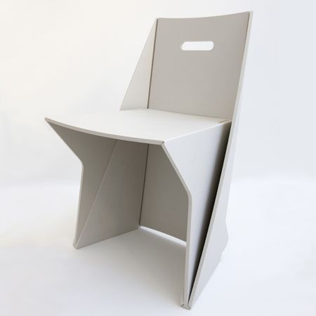 """Lapel Chair""  Is made by folding 100% recycled plastic. It is very simple to assemble; this type of material can be put together in a few minutes without adhesives  or screws."