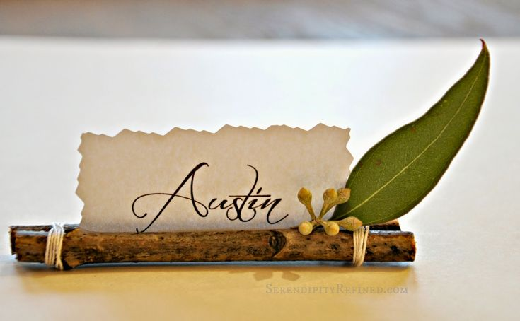 Serendipity Refined Blog: Super Easy Twig Place Card Holders - You could use cinnamon sticks