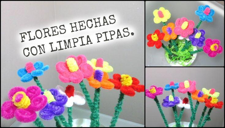 FLORES HECHAS CON LIMPIA PIPAS PARA EL DIA DE LAS MADRES