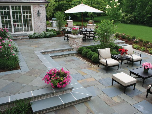 Stone Patio Ideas Backyard large stone patio ideas wood outdoor furniture and flower beds True Blue Bluestone Steps Full Color Bluestone In Both Cut Tiles And An Ashlar Pattern