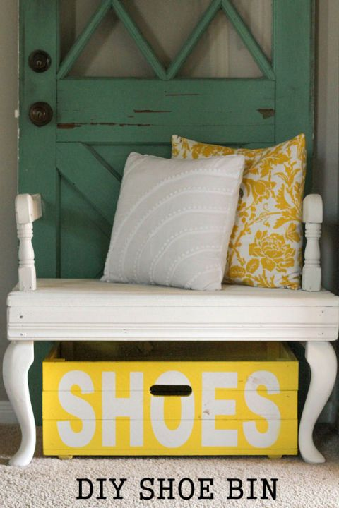If you prefer a bin near the door, paint a crate for a stylish storage option. The can't-miss-it label drops a strong hint to even the messiest guests (or husbands). Get the tutorial at Lil' Luna »