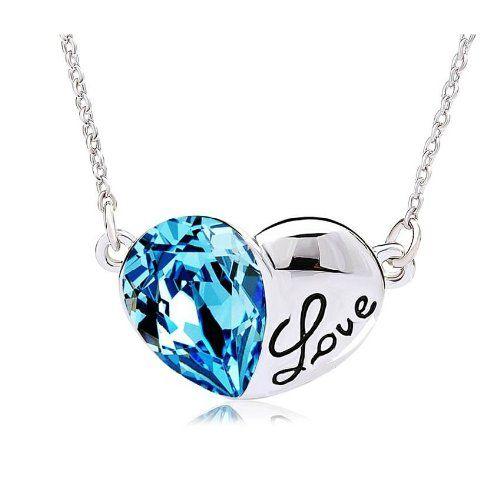 "Shiny Blue Crystal Teardrop Swarovski Elements and ""Love"" Heart Shape Fashion Jewelry Crystal Pendant Necklace Girls / Women / V..."