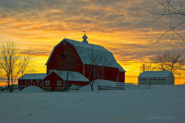 This looks a lot like the farm I grew up on.  I miss it.    This picture is said to be in Wisconsin.