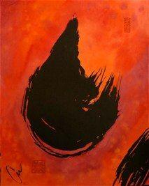 """Surge"" by Carol Van Zandt. Sumi and pigment on washi paper, 25""x20"""