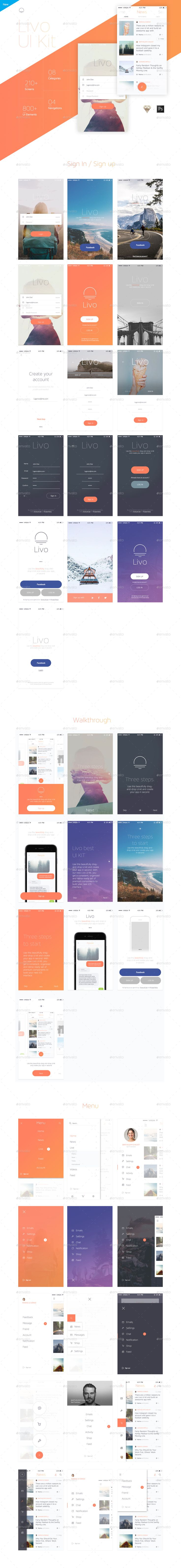 LIVO UI KIT Mobile UI Kit   LIVO UI KIT is a modern, stylish, and intuitive kit for creating your app ! It's a huge UI Kit made with Photoshop and Sketch. LIVO contains more than 210 elaborate mobi...