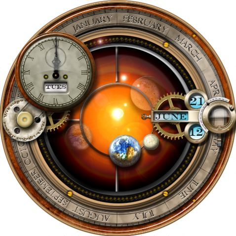 This is the Steampunk Orrery widget plasmoid for KDE - it provides an orrery function via a truly steampunk interface. Works on Kubuntu, a linux derivative.