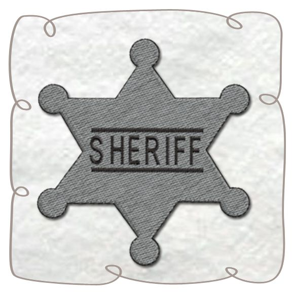 Sheriff Badge Machine Embroidery Design pattern-INSTANT DOWNLOAD