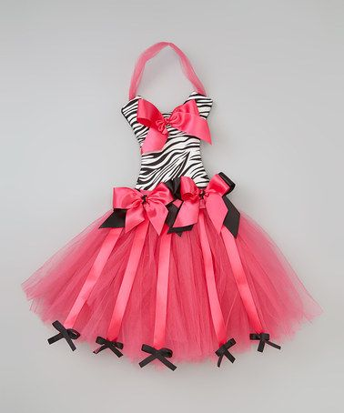 Take a look at this Pink & Black Zebra Tutu Bow Holder by Little Gem on #zulily today!