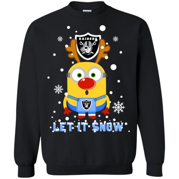 Minion Oakland Raiders Ugly Christmas Sweaters Let It Snow Hoodies Sweatshirts