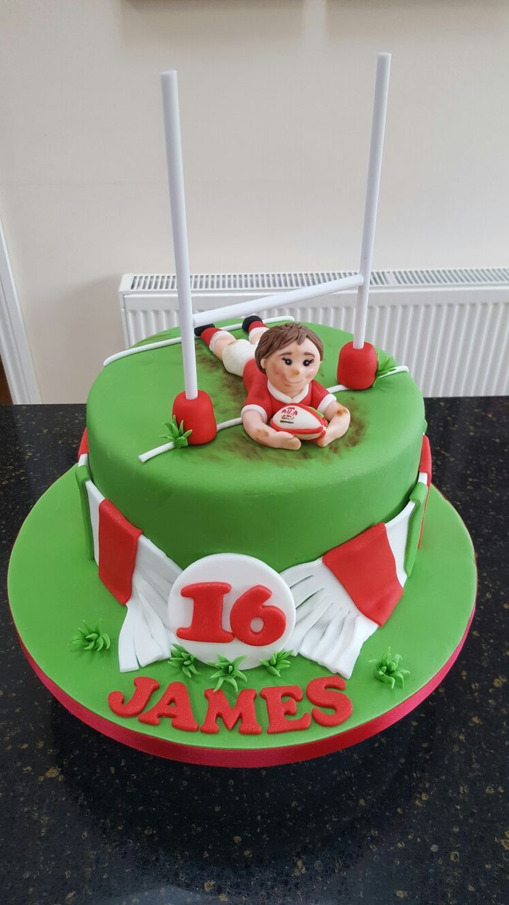 Welsh rugby player scarf wrapped 16th birthday cake  https://www.birthdays.durban