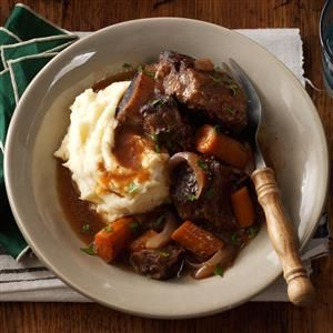 Slow Cooker Short Ribs Recipe -These ribs are an easy alternative to traditionally braised short ribs—you don't need to pay any attention to them once you get them in the slow cooker. —Rebekah Beyer, Sabetha, Kansas