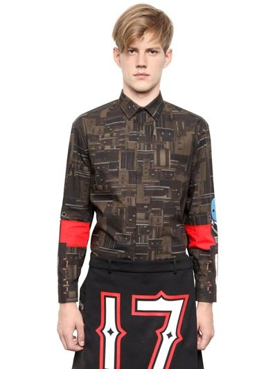 GIVENCHY - COTTON POPLIN COLUMBIAN FIT SHIRT - LUISAVIAROMA - LUXURY SHOPPING WORLDWIDE SHIPPING - FLORENCE